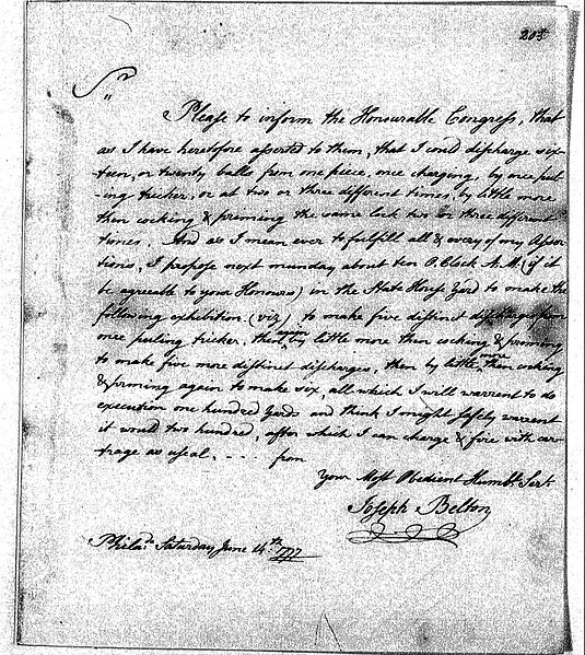 Correspondence from Joseph Belton to Continental Congress