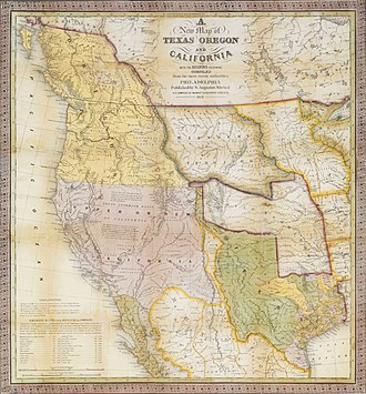 A New Map of Texas, Oregon, and California, Samuel Augustus Mitchell, 1846 Mitchell A New Map of Texas, Oregon, and California 1846 UTA.jpg