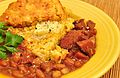 Mmm... pinto beans with ham and cheddar cornbread (6556347925).jpg