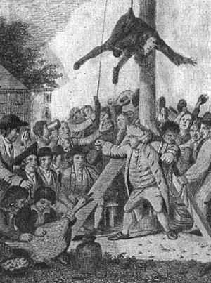 Tory - Mobbing the Tories by American Patriots in 1775–1776. as the Tory is about to be tarred and feathered