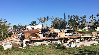Effects of Hurricane Irma in Florida - A destroyed mobile home in Goodland