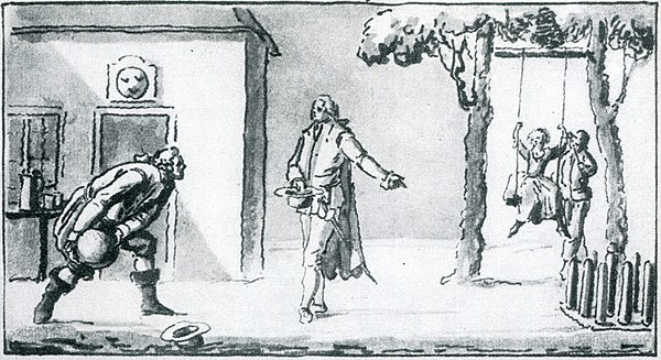 "Wash drawing by Pehr Hilleström in a 1792 letter showing Bellman in Swedish dress with Mollberg playing bowls. Based on Fredman's Epistle 55 ""Mollberg Playing Bowls at Faggen's Tavern by Hammarby barrier, a summer evening in 1773"" Mollberg playing Bowls.jpg"