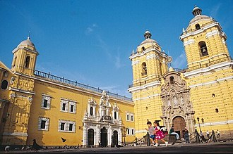 Basilica and Convent of San Francisco, Lima - Main Porch, in the baroque style, and towers of the San Francisco Church