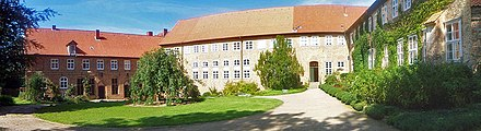 Ebstorf Abbey continued as a Lutheran convent in the Benedictine tradition since 1529. Monastery Ebstorf.jpg