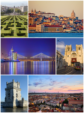 Clockwise, frae top: Eduardo VII Park, Commerce Square wi the Alfama destrict, the Sé de Lisboa, panoramic view o the ceety frae São Jorge Castle wi the 25 de Abril Bridge at backgrund, the Belém Touer an the Parque das Nações wi the Vasco da Gama Bridge at backgrund.