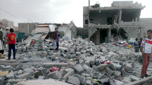 "Months after an airstrike on a neighborhood populated by black Yemenis or ""Muhamasheen"" more than a hundred buildings still remain in rubble and survivors continue to search for any valuables - Sanaa - Yemen - Oct-9-2015.png"