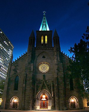 St. Patrick's Basilica, Montreal - The exterior of St. Patrick's Basilica at night.