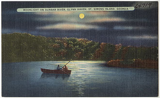 Igbo Landing - A 1930 post card showing moonlight on Dunbar River, Glynn Haven, St. Simons Island, Georgia