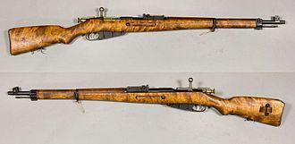 Pistol grip - Stock with semi-pistol grip on a Finnish M39 Mosin–Nagant rifle.