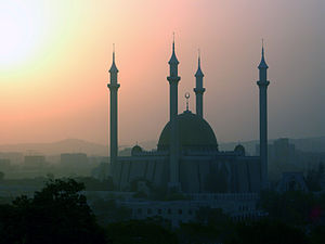 Harmattan - Harmattan haze surrounding Abuja National Mosque in Abuja