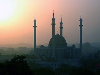 Islam in Nigeria - The national mosque during Harmattan
