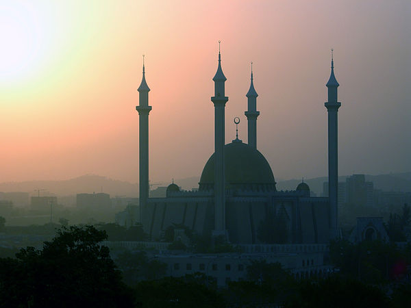 Harmattan haze surrounding Abuja National Mosque in Abuja MosqueinAbuja.jpg