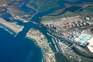 English: Aerial view of Moss Landing, Monterey...