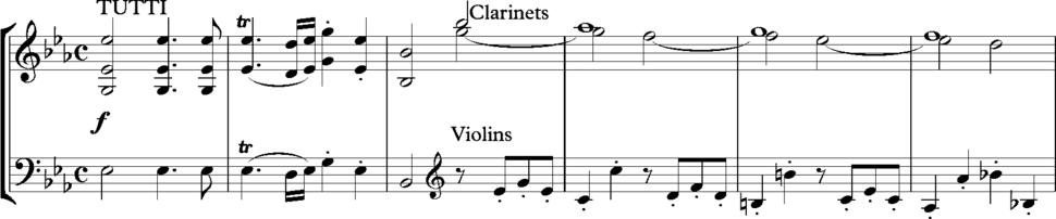 Mozart Piano Concerto K482 first movement bars 7-12