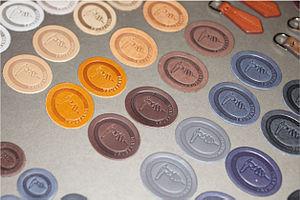 """Trussardi - Sheet of multi-colored Trussardi """"greyhound"""" logos"""