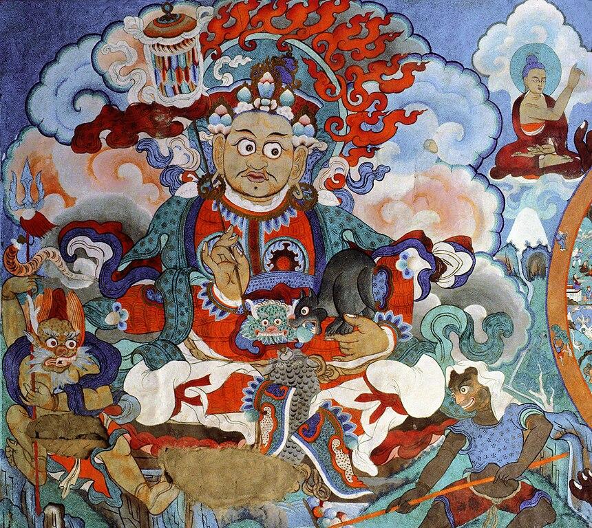 File mural painting monastery hemis ladakh for Buddha mural art