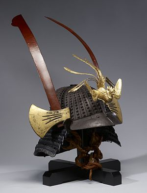 Myochin - Helmet with Phoenix and Battle-Axe Ornaments - Walters 51609 - Three Quarter.jpg