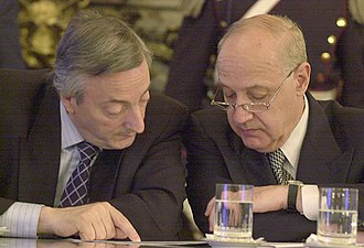 1998–2002 Argentine great depression - President Kirchner and Economy Minister Lavagna discuss policy, August 2004.