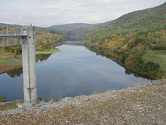 Ottauquechee River - North Hartland Lake formed by the dam in the front of the photo