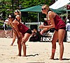 NCAA sand volleyball match at FSU, April 2013 (8672299122).jpg
