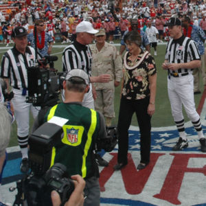 NFL officials (striped shirts) and guests prepare to toss the coin to start the 40th annual Pro Bowl.