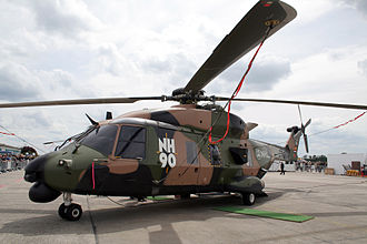 Portuguese Army Light Aviation Unit - NH90 TTH mock-up with Portugal's flag representing the Portuguese participation in the program.