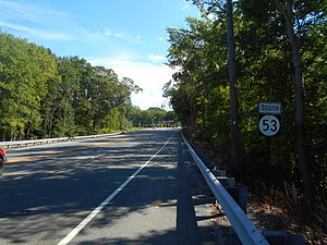 New Jersey Route 53 - Route 53 heading southbound past the interchange with Route 10 westbound in Morris Plains