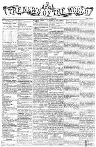 News of the World - Front page of the first issue