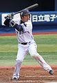 Naoto Watanabe, infielder of the Yokohama BayStars, at Yokohama Stadium.JPG
