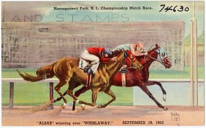 Alsab - Image: Narragansett Park, R.I., Championship Match Race, Alsab winning over Whirlaway. September 19, 1942 (74630)