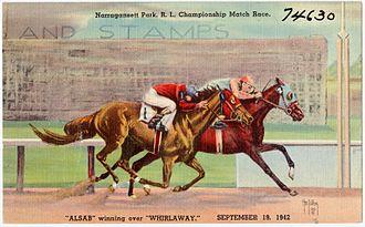 Narragansett Park - Postcard of Alsab and Whirlaway