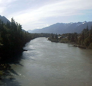 Nass River - View west on Nass River at Gitwinksihlkw