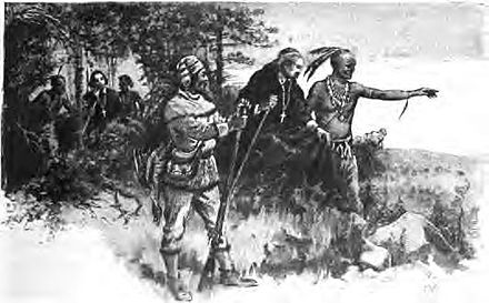 Native Americans guide French explorers through Indiana, as depicted by Maurice Thompson in Stories of Indiana. Natives guiding french explorers through indiana.jpg