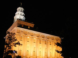 Nauvoo Illinois Temple - Image: Nauvoo Illinois Temple Southwest Night Perspective