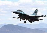 Naval Strike and Air Warfare Center F-16 Viper lands at NAS Fallon in April 2015.JPG