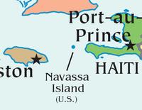 Ubicación de la Isla de Navasa al sur de Cuba, este de Jamaica, y oeste de Haití