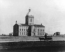 Nebraska's first state capitol, c. 1870.