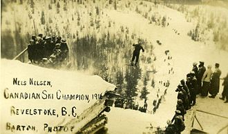 Nels Nelsen - Nelsen during a jump in Big Hill in 1916
