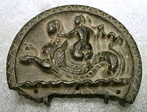 Sirkap - A Nereid riding a Ketos sea-monster, stone palette, Sirkap, 2nd century BC.