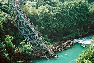 """Jablanica, Bosnia and Herzegovina - Neretva Bridge, destroyed during the Fourth enemy offensive and recreated for the 1969 film, """"The Battle of Neretva."""""""