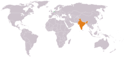 Map indicating locations of Netherlands and India