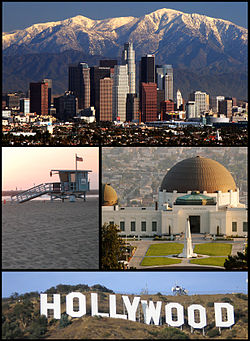 Images, from top, left to right: Downtown Los Angeles in winter, Venice Beach, Griffith Observatory, Hollywood sign