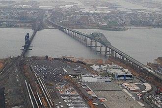 Oak Island Yard - The Upper Bay Bridge for trains and the Newark Bay Bridge for vehicles cross Newark Bay east of Oak Island Yard