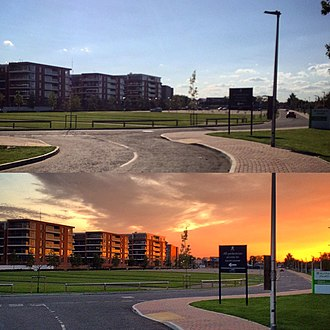 Golden hour (photography) - Comparison of daylight versus the golden hour at the Newbury Racecourse