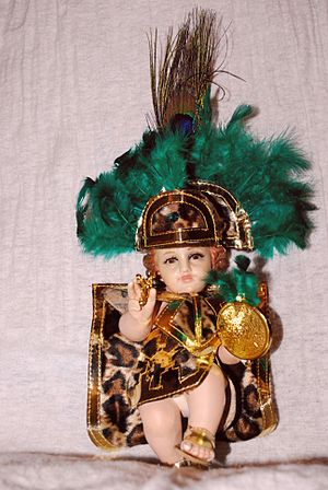 Child Jesus images in Mexico - Niño Dios image dressed in Aztec costume