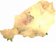 Satellite image of Niger, generated from raster graphics data supplied by The Map Library
