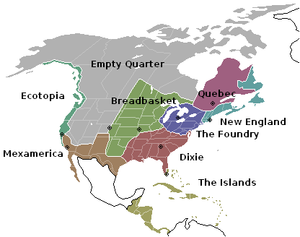 A map illustrating the w:Nine Nations of North...