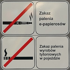 Regulation of electronic cigarettes - A no smoking and no vaping sign in a Gdansk bus.