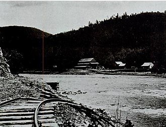 Nolichucky River - Remnants of a railroad bridge near Erwin destroyed by the flood of May 1901; the flood was the river's largest on record