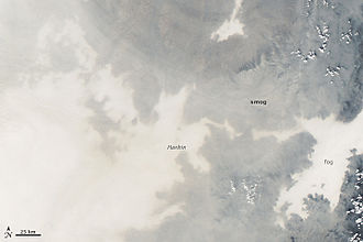2013 Northeastern China smog - Detail showing position of Harbin in the haze (NASA)